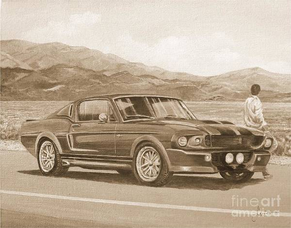 Painting - 1967 Ford Mustang Fastback In Sepia by Sinisa Saratlic