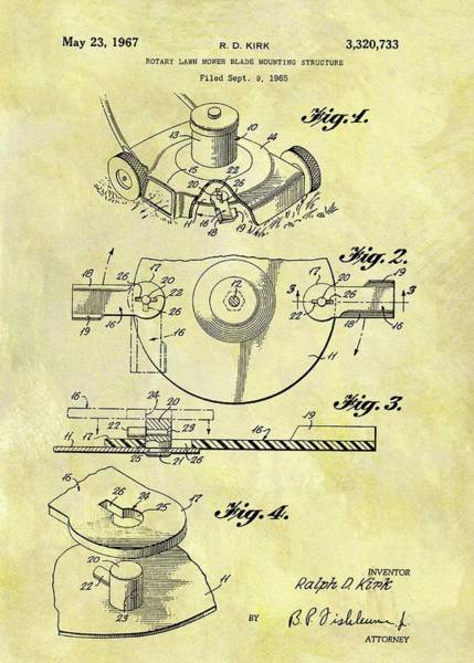 Weeds Drawing - 1967 Lawn Mower Patent by Dan Sproul