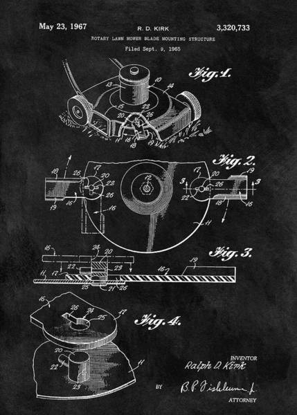 Weeds Drawing - 1967 Lawn Mower Patent Illustration by Dan Sproul