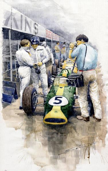 Motorsport Painting - 1967 Lotus 49t Ford Coswoorth Jim Clark Graham Hill by Yuriy Shevchuk
