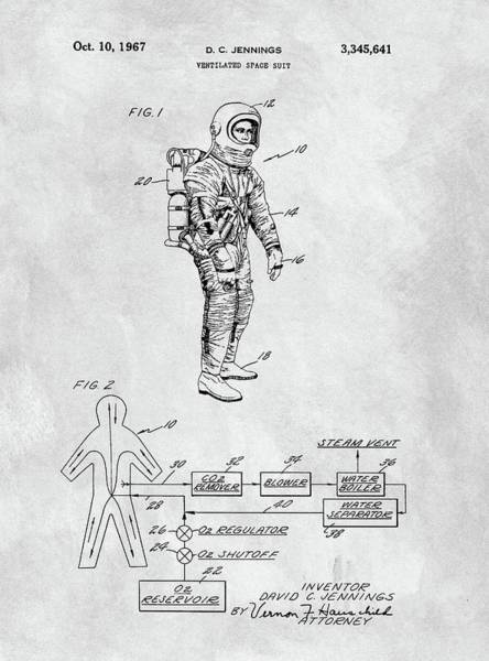 Wall Art - Drawing - 1967 Nasa Space Suit by Dan Sproul