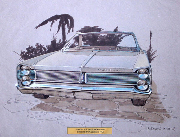 Wall Art - Drawing - 1967 Plymouth Fury  Vintage Styling Design Concept Rendering Sketch by John Samsen