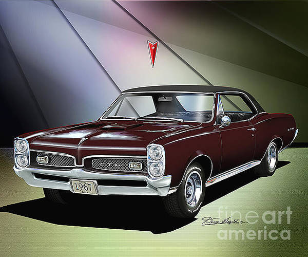 Car Drawings Mixed Media - 1967 Pontiac Gto by Danny Whitfield