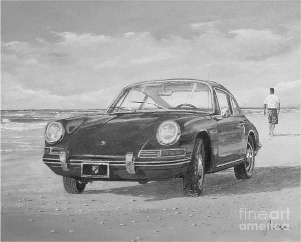 Painting - 1967 Porsche 912 In Black And White by Sinisa Saratlic