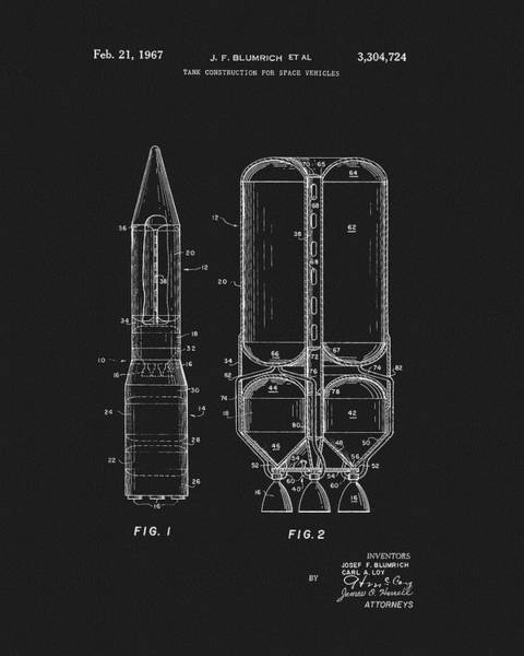 Wall Art - Drawing - 1967 Space Rockets Patent by Dan Sproul