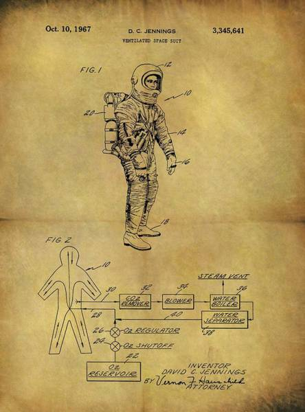 Wall Art - Drawing - 1967 Space Suit Patent by Dan Sproul