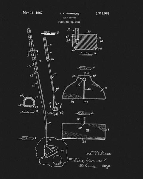 Drawing - 1967 Summers Golf Putter Patent by Dan Sproul