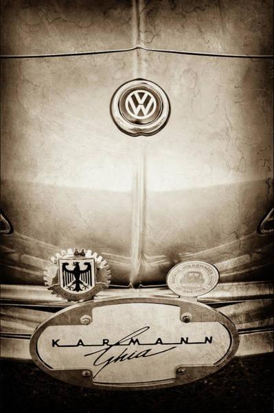 Wall Art - Photograph - 1967 Volkswagen Vw Karmann Ghia Emblems -0058s by Jill Reger