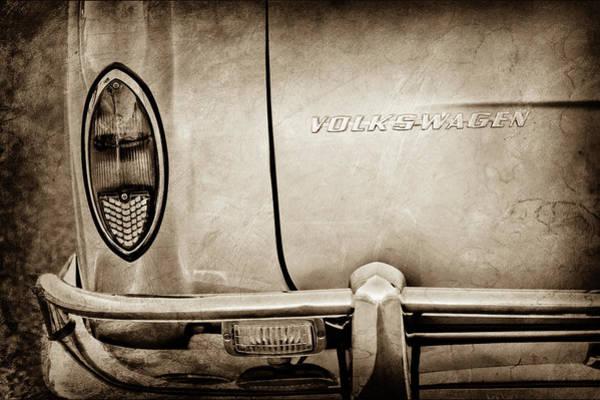 Wall Art - Photograph - 1967 Volkswagen Vw Karmann Ghia Taillight Emblem -0485s by Jill Reger