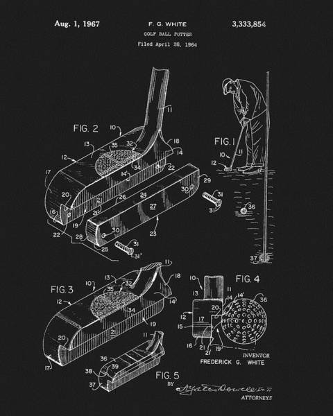 Drawing - 1967 White Golf Putter Patent by Dan Sproul