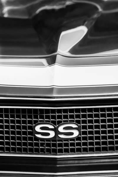 Photograph - 1968 Chevrolet Yenko Super Camaro Ss Grille Emblem -1745bw by Jill Reger