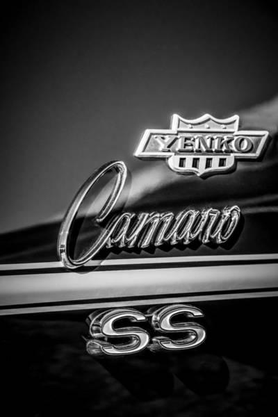 Photograph - 1968 Chevrolet Yenko Super Camaro Ss Side Emblem -1762bw by Jill Reger