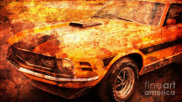 Car Show Painting - 1968 Ford Mustang Gt, Valentine Gift For Men by Drawspots Illustrations