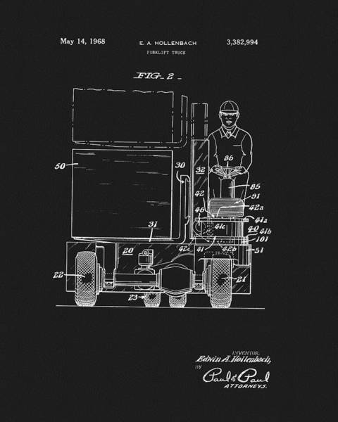 Wall Art - Drawing - 1968 Forklift Patent by Dan Sproul
