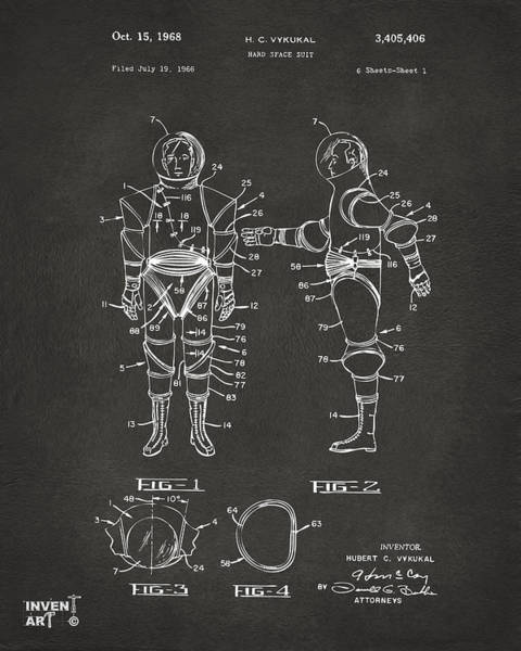 Wall Art - Digital Art - 1968 Hard Space Suit Patent Artwork - Gray by Nikki Marie Smith