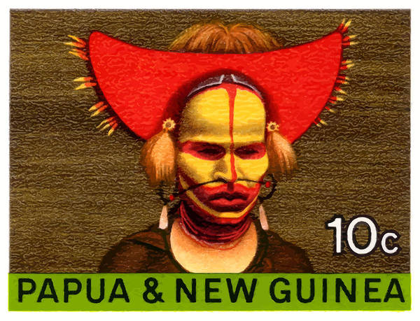 Indigenous Digital Art - 1968 Papua New Guinea Headress 10c Postage Stamp by Retro Graphics