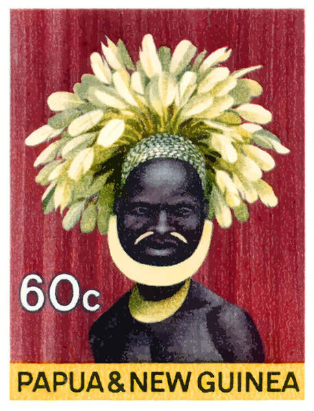 Indigenous Digital Art - 1968 Papua New Guinea Headress 60c Postage Stamp by Retro Graphics