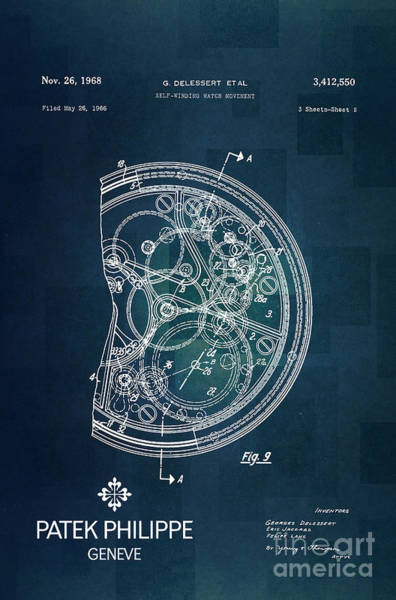 Patent Drawing Wall Art - Digital Art - 1968 Patek Philippe Patent 1 by Nishanth Gopinathan