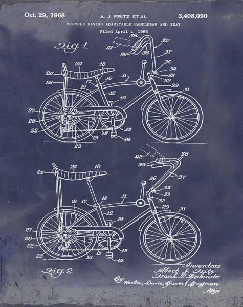 Wall Art - Photograph - 1968 Schwinn Stingray Patent In Blueprint by Bill Cannon