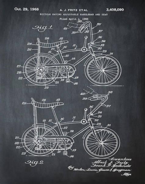 Digital Art - 1968 Schwinn Stingray Patent In Chalk by Bill Cannon
