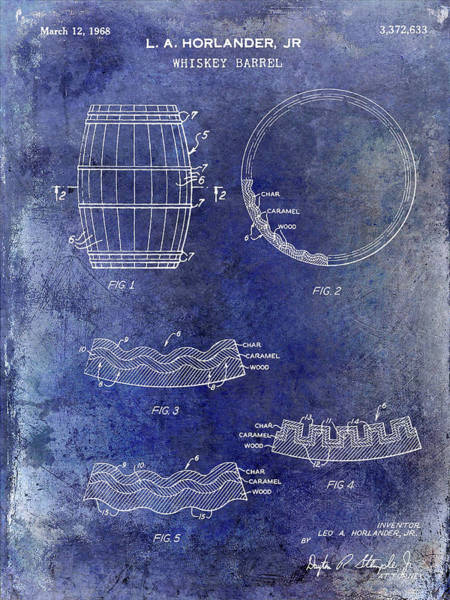 Wall Art - Mixed Media - 1968 Whiskey Barrel Patent Blue by Jon Neidert