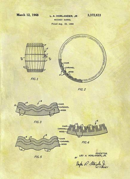 Barrels Drawing - 1968 Whiskey Barrel Patent by Dan Sproul