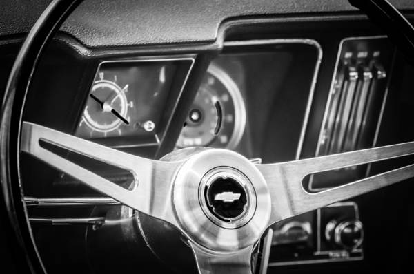 Photograph - 1969 Chevrolet Camaro Steering Wheel Emblem -0346cbw by Jill Reger