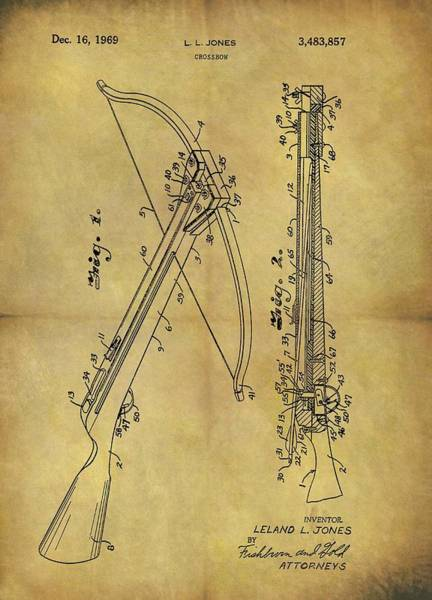 Drawing - 1969 Crossbow Patent by Dan Sproul