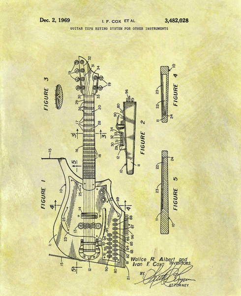 Classic Rock Mixed Media - 1969 Electric Guitar Patent by Dan Sproul