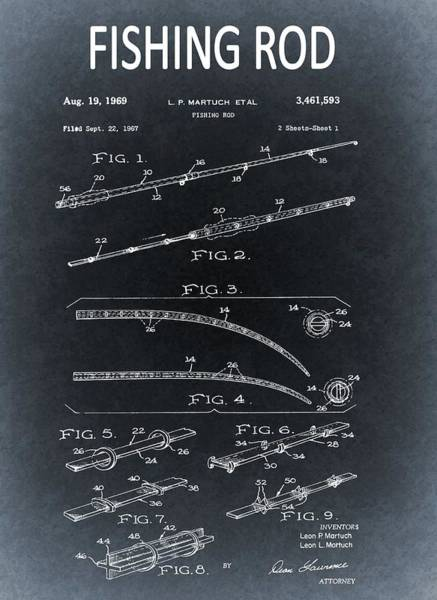 Drawing - 1969 Fishing Rod Blueprint by Dan Sproul