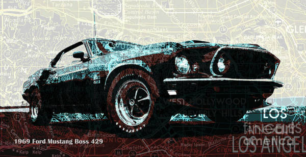 Wall Art - Drawing - 1969 Ford Mustang Boss 429 Classic Car On Los Angeles California Holywood Map by Drawspots Illustrations