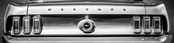 Photograph - 1969 Ford Mustang Tail Lights -0113bw by Jill Reger