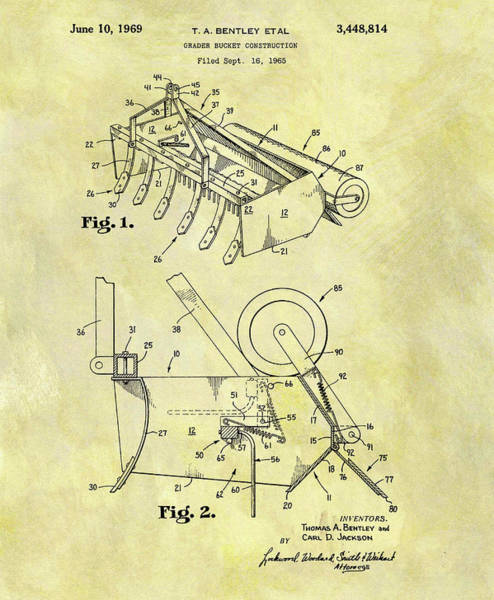 Blades Mixed Media - 1969 Grader Bucket Patent by Dan Sproul