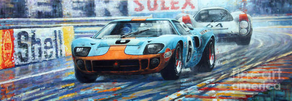 Wall Art - Painting - 1969 Le Mans 24 Ford Gt 40 Ickx Oliver Winner  by Yuriy Shevchuk