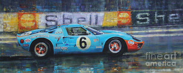 Wall Art - Painting - 1969 Le Mans 24 Ford Gt40 Jacky Ickx Jackie Oliver Winner by Yuriy Shevchuk