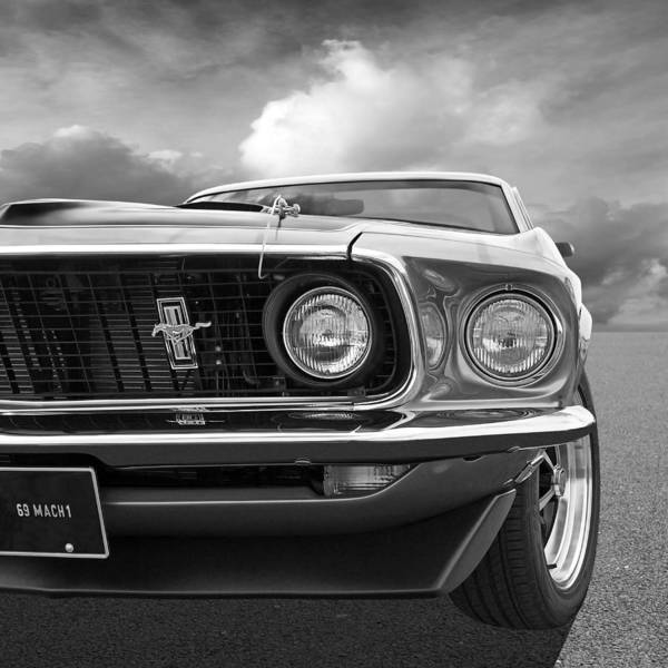 Photograph - 1969 Mustang Mach 1 Black And White by Gill Billington