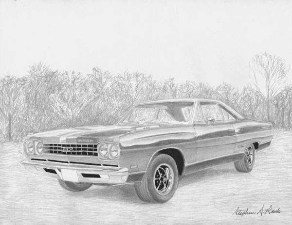 Car Drawings Mixed Media - 1969 Plymouth Gtx Muscle Car Art Print by Stephen Rooks