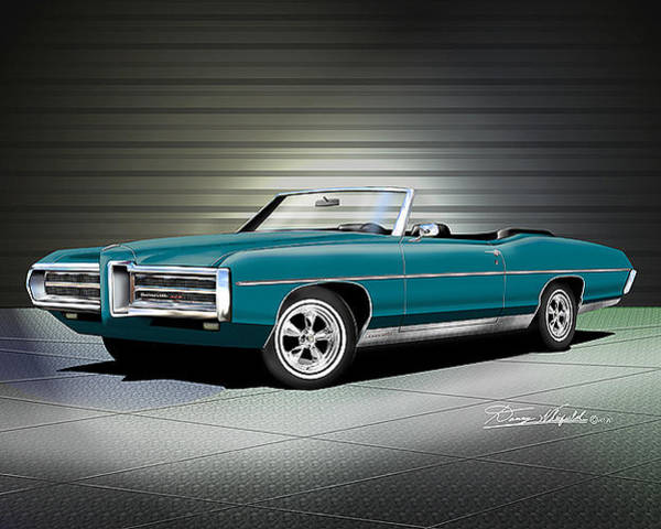 Car Drawings Mixed Media - 1969 Pontiac Bonneville by Danny Whitfield