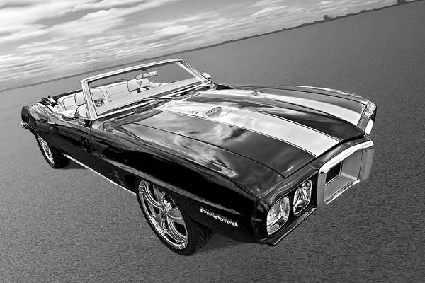 Wall Art - Photograph - 1969 Pontiac Firebird Convertible In Black And White by Gill Billington