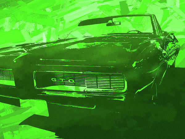 Digital Art - 1969 Pontiac Gto Convertible Pop Green by David King