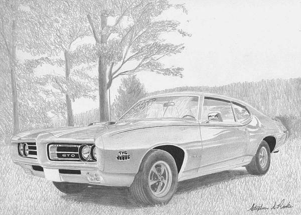 Car Drawings Mixed Media - 1969 Pontiac Gto Judge Muscle Car Art Print by Stephen Rooks