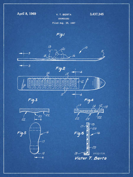 Drawing - 1969 Snowboard Patent by Dan Sproul