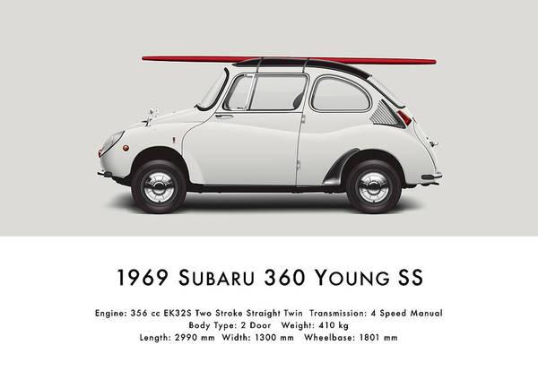 Wall Art - Digital Art - 1969 Subaru 360 Young Ss - Creme by Ed Jackson