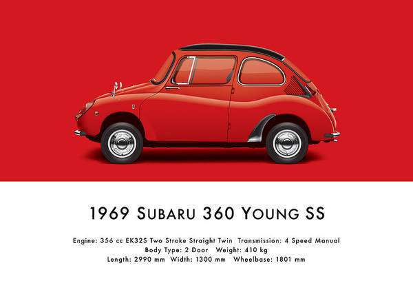Jdm Digital Art - 1969 Subaru 360 Young Ss - Red by Ed Jackson