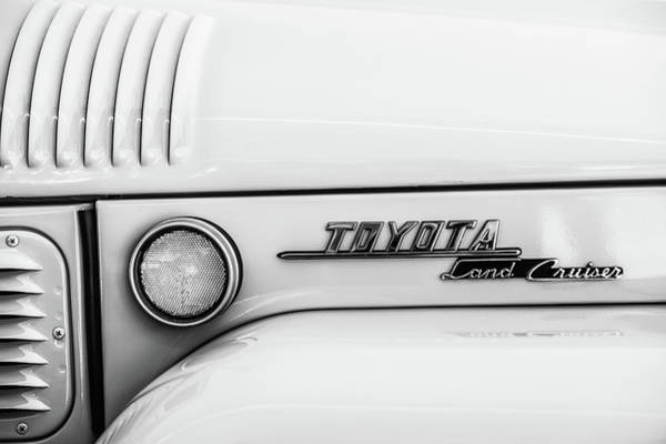 Wall Art - Photograph - 1969 Toyota Fj-40 Land Cruiser Emblem -0441bw by Jill Reger