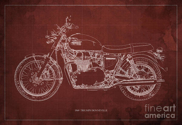Moto Blueprint Wall Art - Drawing - 1969 Triumph Bonneville Blueprint Red Background by Drawspots Illustrations