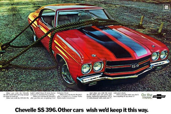 Advertisement Digital Art - 1970 Chevrolet Chevelle Ss 396 by Digital Repro Depot