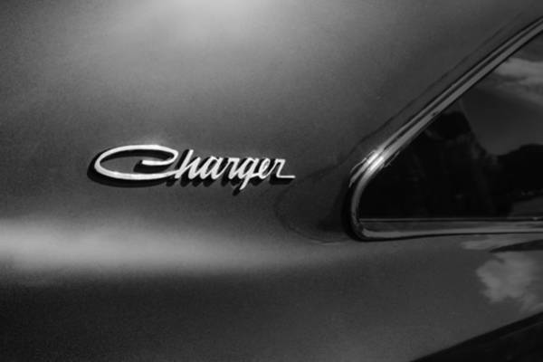 Wall Art - Photograph - 1970 Dodge Charger Emblem -0290bw by Jill Reger