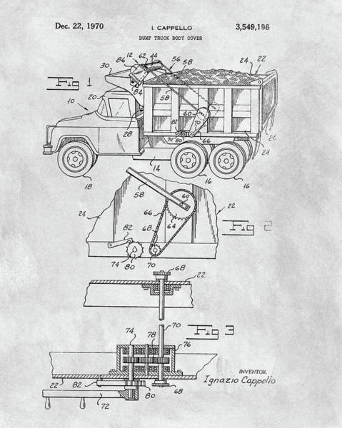Wall Art - Mixed Media - 1970 Dump Truck Cover Patent by Dan Sproul