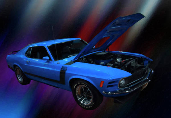 Painting - 1970 Ford Mustang Boss 302 Digital Oil by Chris Flees